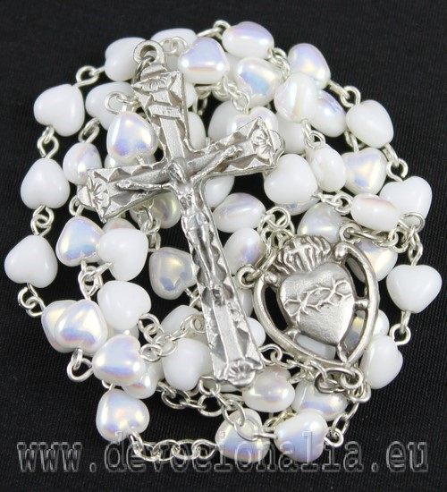 Rosary- White porcelain hearts - 4198
