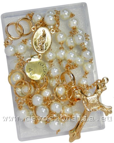 Wedding rosary - 7mm pearl beads - 4089ZL