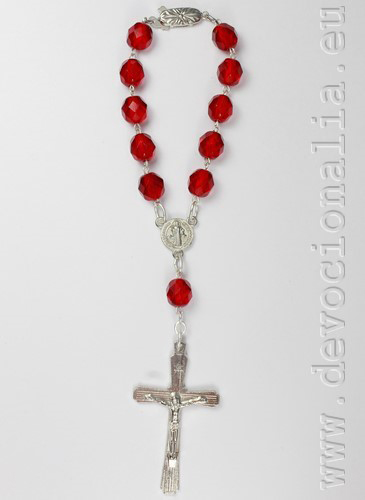 Auto rosary - red crystal