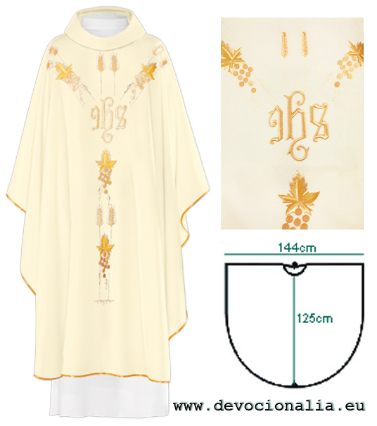 Chasuble - embroidery IHS + ears