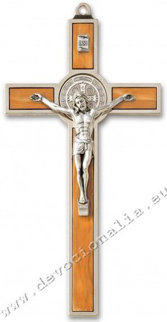 Metallic cross 20cm - St. Benedict - olive wood