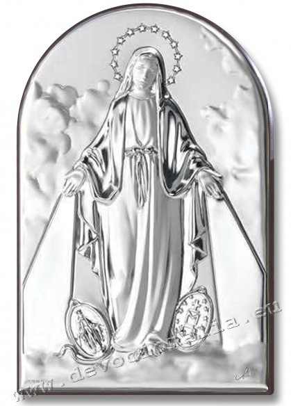 Silvering plaquette 13x18cm - Madona of Miraculous Medal