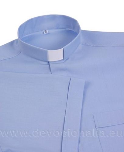 3bea4b8c3398 Modrá kňazská košeľa - Krátky rukáv