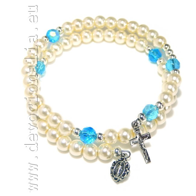 White Pearly Rosary Bracelet - with memory wire