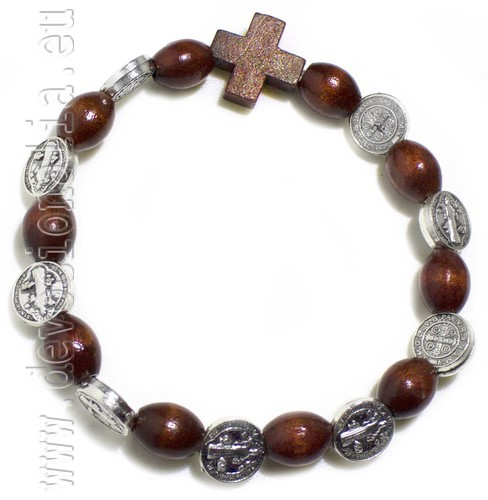 Brown wood Rosary Bracelet on elastic -  St. Benedict beads