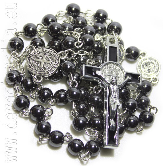 Saint Benedict rosary from Hematite - 6mm