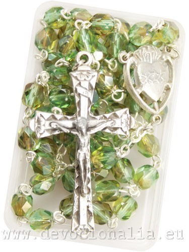 Rosary - 6mm green glittering beads