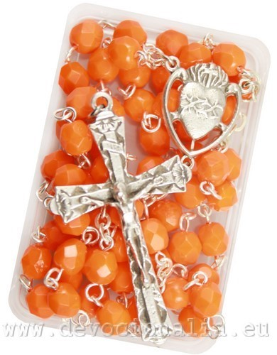 Rosary - 6mm orange glass beads