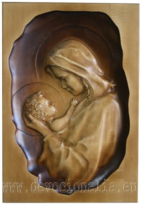Woodcarving - Mary with child - 33x23cm image