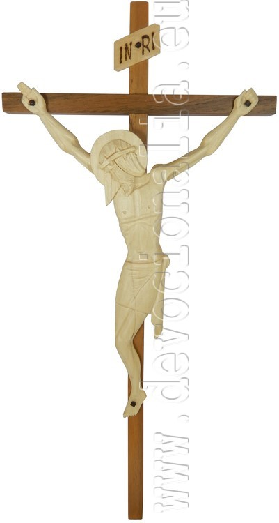 Woodcarving - crucifix with stylized corpus - 38x18cm - B