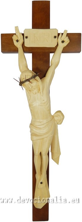 Woodcarving - crucifix with carved corpus - 41x14cm